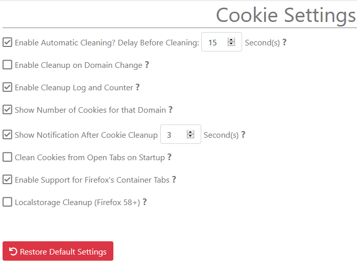 Cookie AutoDelete settings